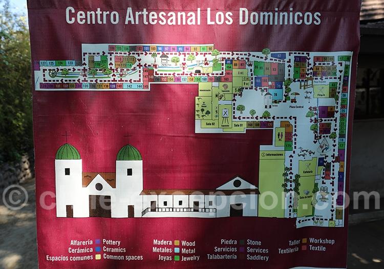 Plan du Pueblito Los Domínicos, village d'artisanat