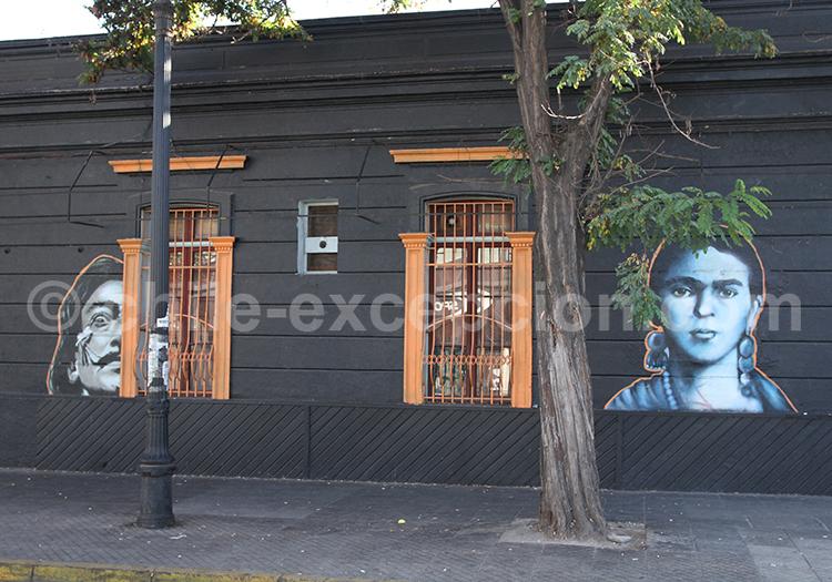 Dali et Frida, street art, Chile