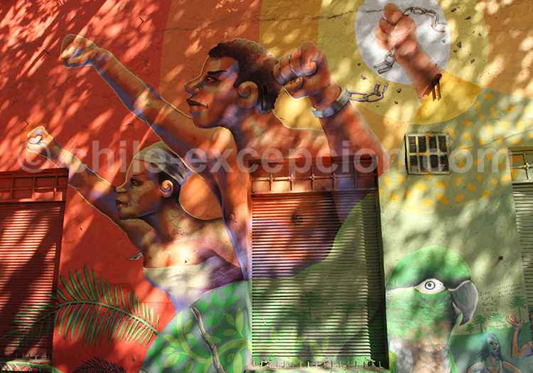 Urban art, hommage aux esclaves Chile