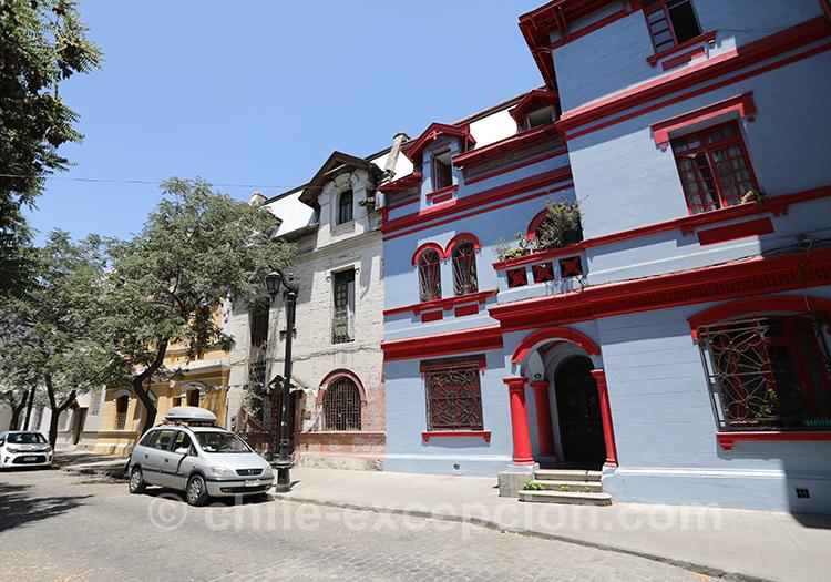 Architecture des maisons de Yungay, quartier de Santiago