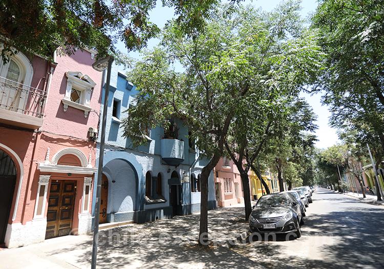 Maisons colorées du quartier Yungay, Santiago
