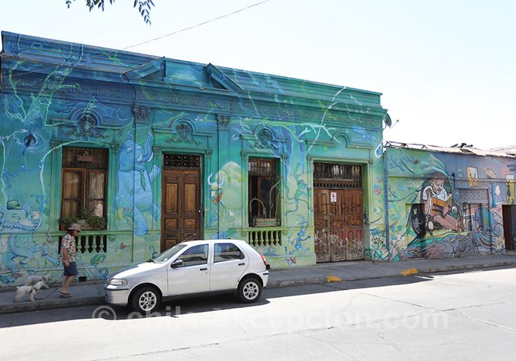 Maison traditionnelle du quartier Yungay, Santiago, Chili