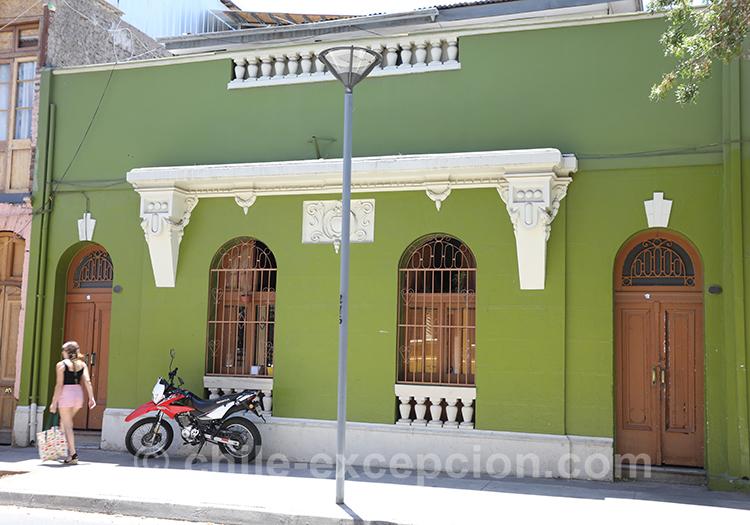 Maison verte du quartier Yungay, Santiago de Chile