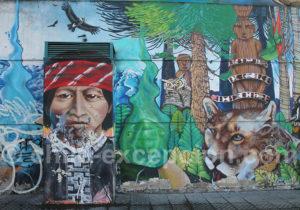 Fresque mapuche, quartier Yungay, Santiago