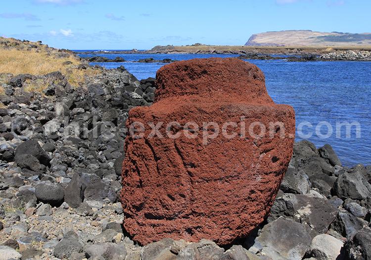 Pierre volcanique sur l'île de Pâques, Chili