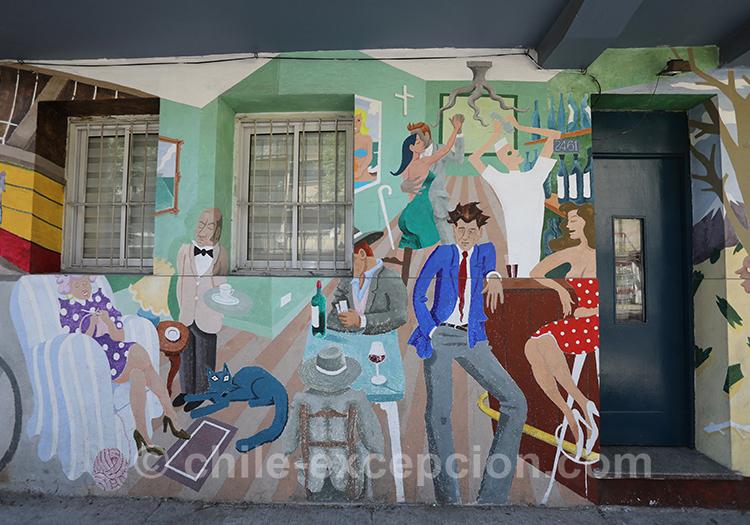 Peinture murale du quartier Brasil de Santiago de Chile