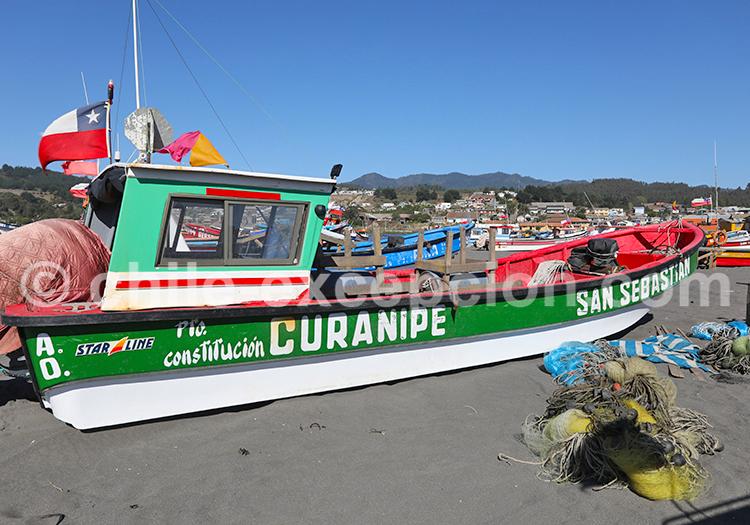 Bateau de pêche, Curanipe, Chili