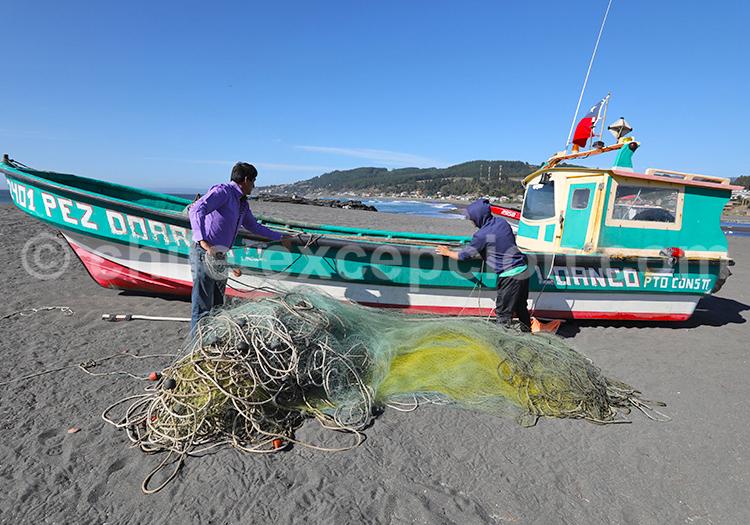 Filets de pêche, Curanipe, Chili