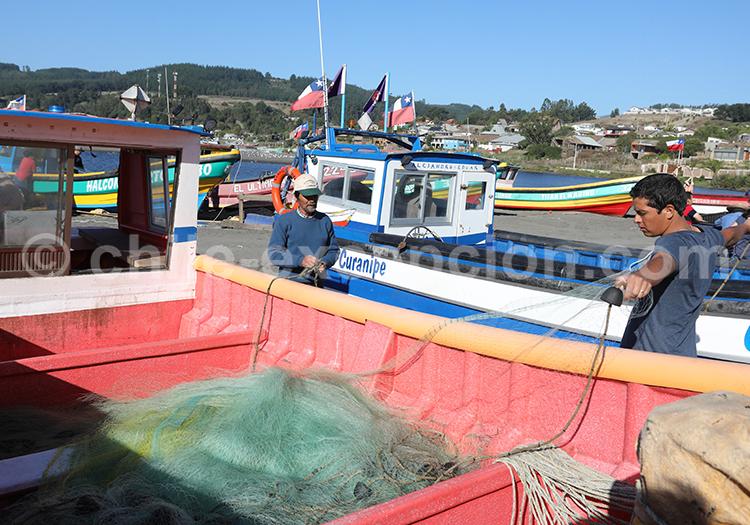 Intérieur d'un bateau, Curanipe, Chili