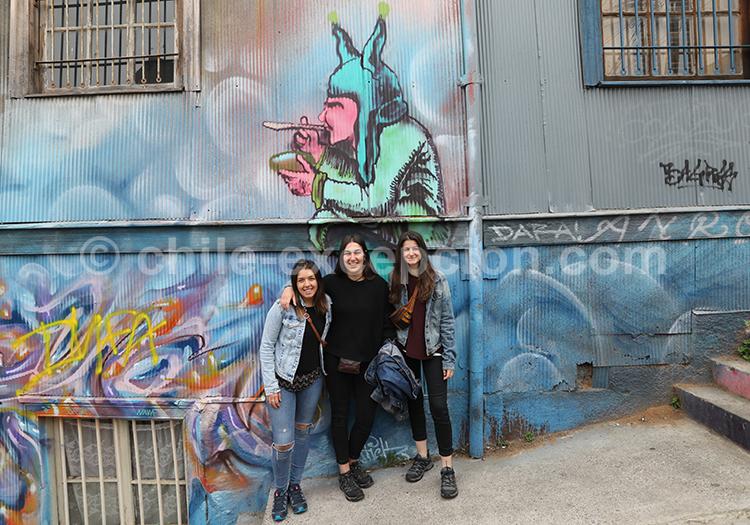 Portrait, touristes à Valparaiso, Chili