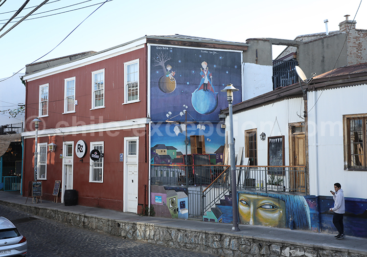 Le petit Prince, street art, Cerro Concepcion, Valparaiso