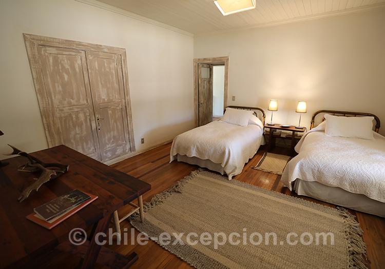 Chambre lits jumeaux de l'hôtel Casa Bouchon, Chili avec l'agence de voyage Chile Excepción