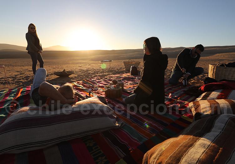 Coucher de soleil, dunes de Copiapo, Chili