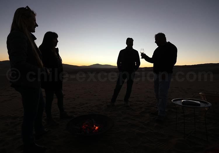 Coucher de soleil, désert du Chili