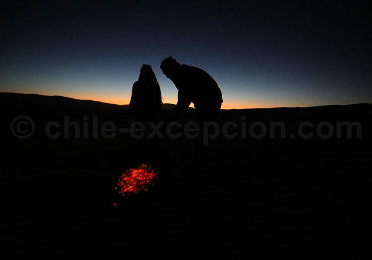 Coucher de soleil, désert d'Amérique du Sud