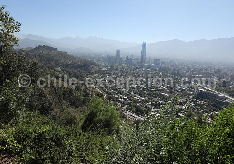Vue depuis le Cerro San Cristóbal, Santiago du Chili