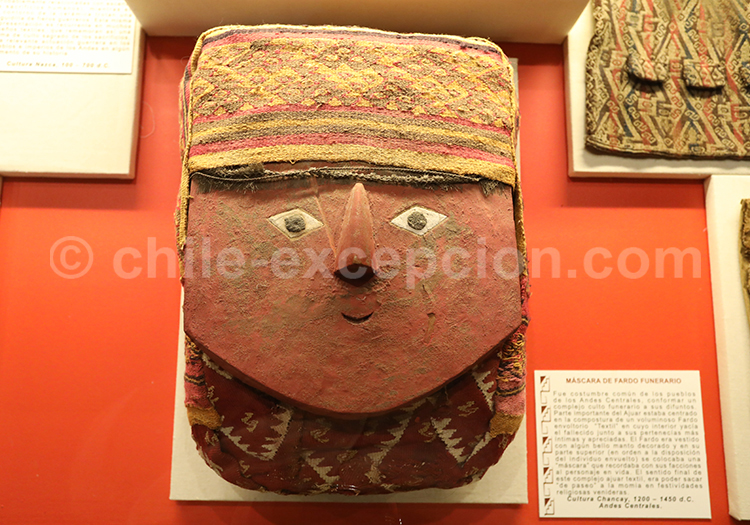 Masque funéraire, culture Chancay, Musée Colchagua
