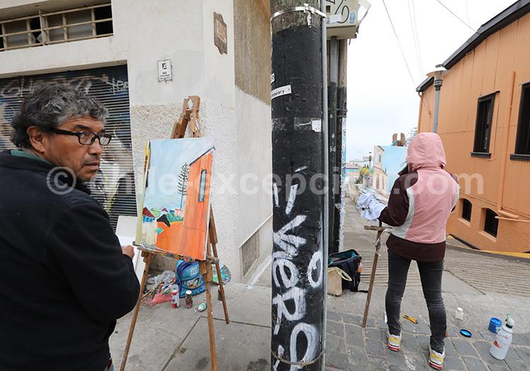 Street art, Au fil des rues, Valparaiso, région centre, Chili avec l