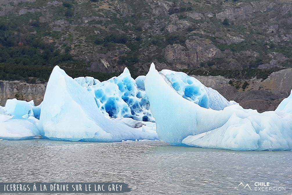 Icebergs sur le lac grey, Patagonie, Chili