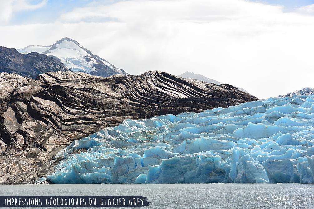 Impressions géologiques du glacier Grey, Chili