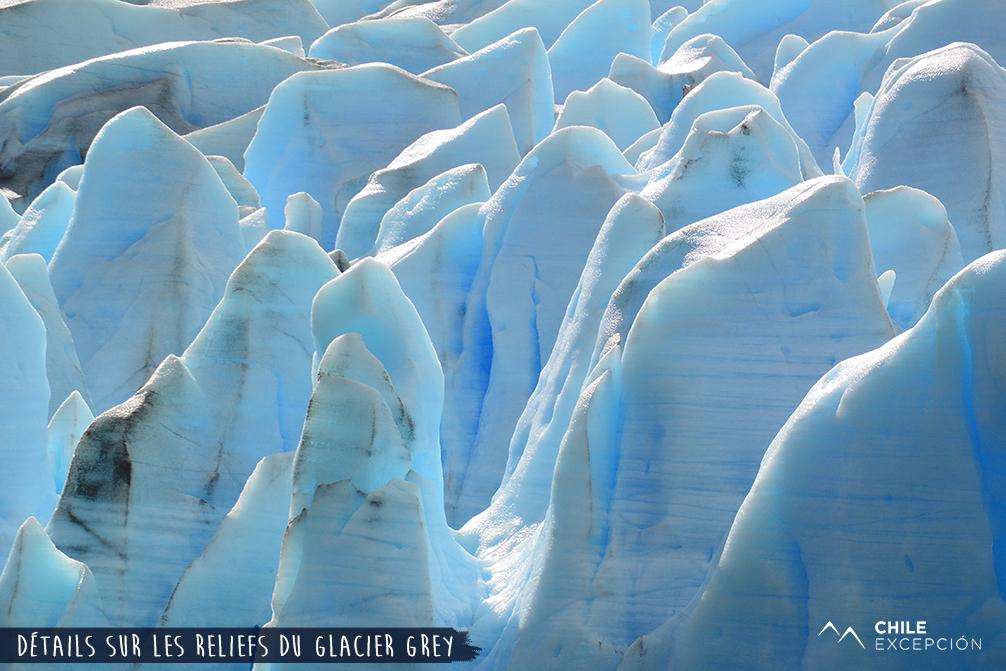 Détails sur les reliefs du glacier Grey, Patagonie, Chili