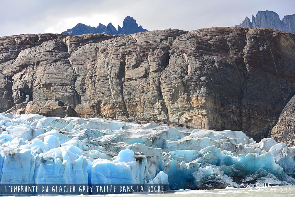 Empruntes du glacier Grey taillée dans la roche