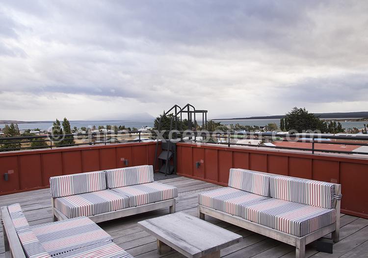 Vue de la terrasse de l'hôtel Vendaval, Puerto Natales, Chili avec l'agence de voyage Chile Excepción