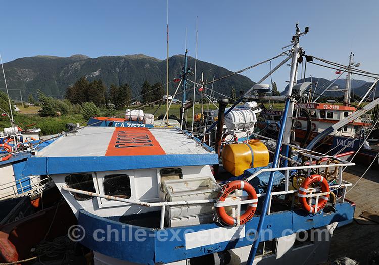 Les bateaux de pêche du port de Puerto Aysén, Chili