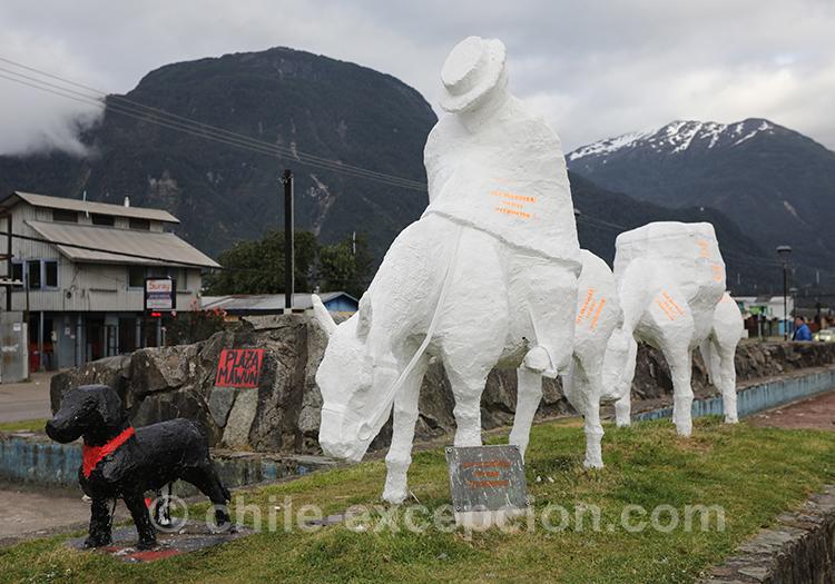 Monument aux pilcheros (chevaux de charge), Puerto Aysen