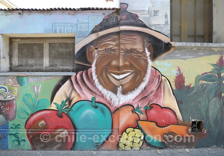 Peinture d'un vieillard vendant des fruits dans les rues de Yungay, Santiago au Chili