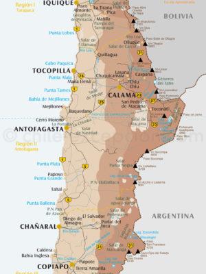 Carte Nord du Chili