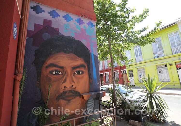 Le quartier de Yungay est riche en street art avec l'agence de voyage Chile Excepción