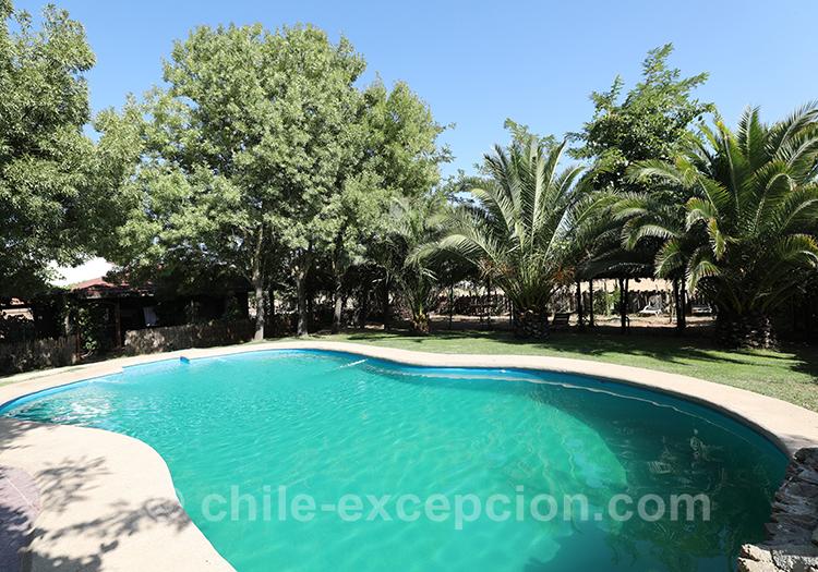 Piscine de la maison d'hôte Caliboro, Chili avec l'agence de voyage Chile Excepción