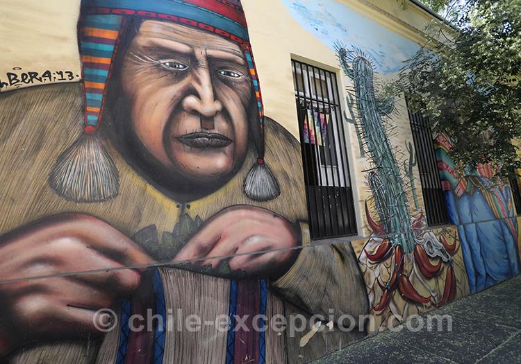 Vendeur de feuilles de coca, peinture du quartier Yungay, Chili avec l'agence de voyage Chile Excepción