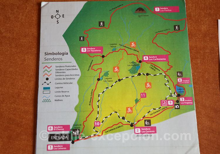 Carte du parc national de Coyhaique, Chili