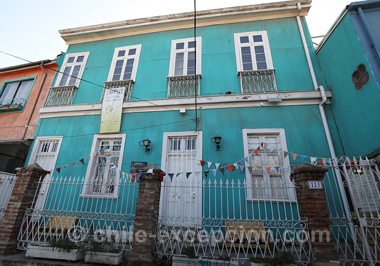 Maison bleue du Cerro Artilleria, Valparaiso