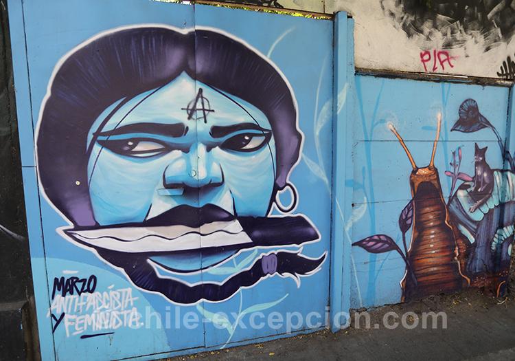 Peinture anarchiste à Yungay à Santiago avec l'agence de voyage Chile Excepción