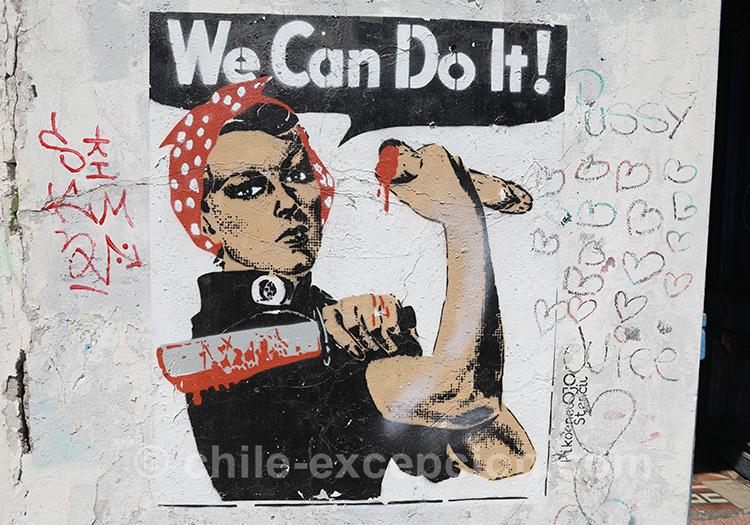 We can do it, peinture à Yungay, Santiago, Chili avec l'agence de voyage Chile Excepción