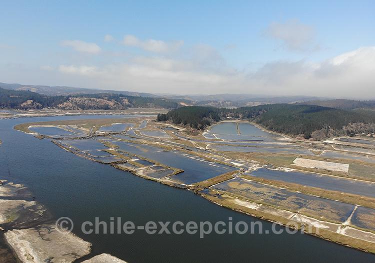 Les salines de Cahuil vues du ciel, Chili