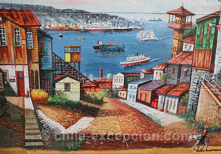 Peinture du port de Valparaiso, Chili