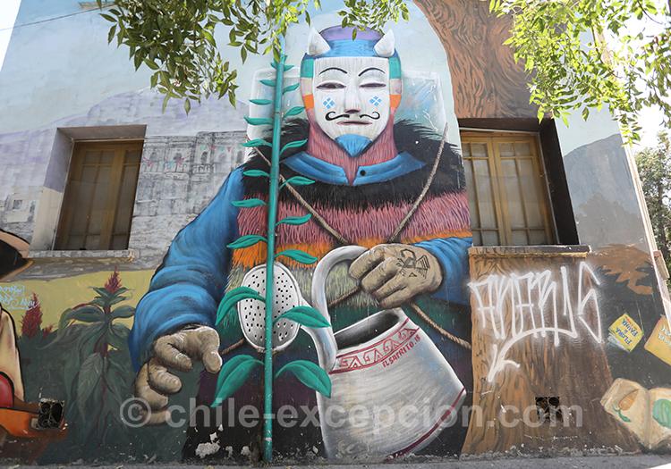 Street-art de quartier Yungay, Santiago avec l'agence de voyage Chile Excepción