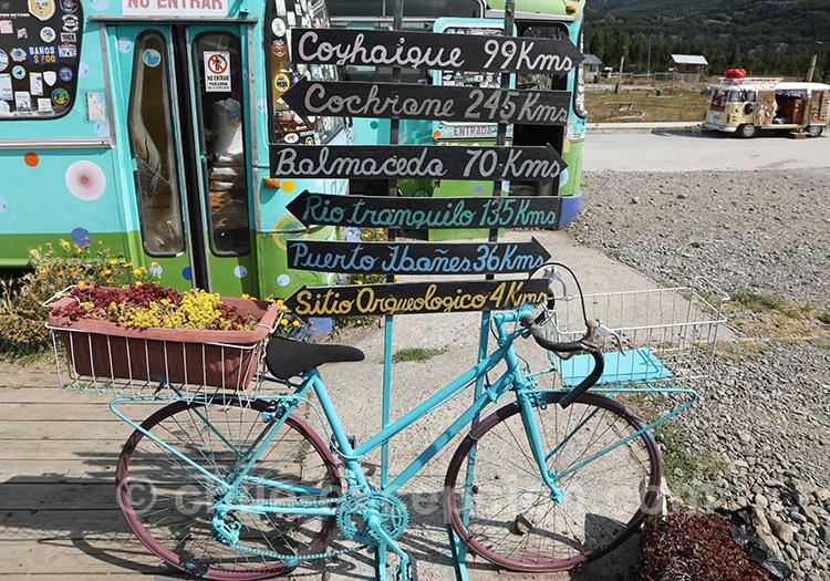 Pancartes de la petite ville Cerro Castillo, Chili