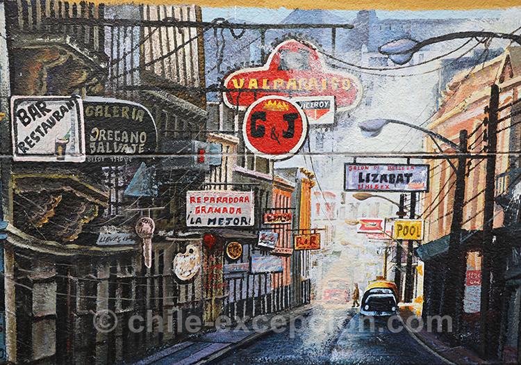Rues colorées de Valparaiso, peintures et dessins de rue