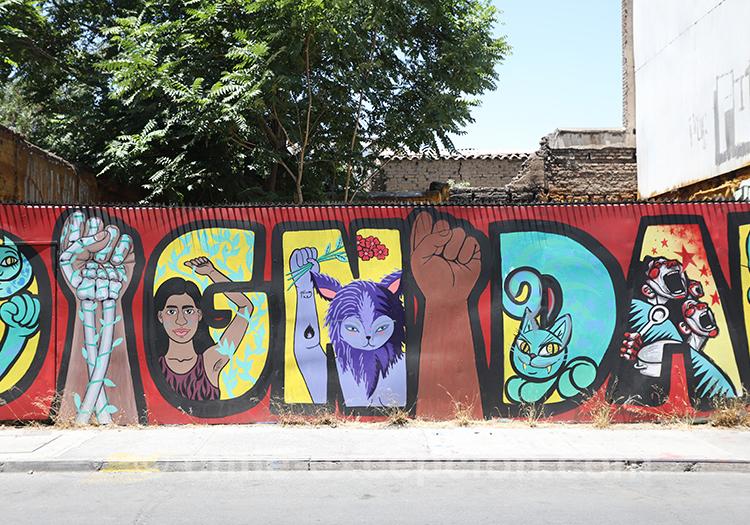 Dignidad, peinture sur mur à Santiago avec l'agence de voyage Chile Excepción