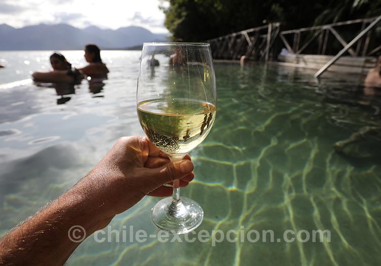 Boire un verre aux thermes Ensenada Pérez, Fjord Aysen, Chili