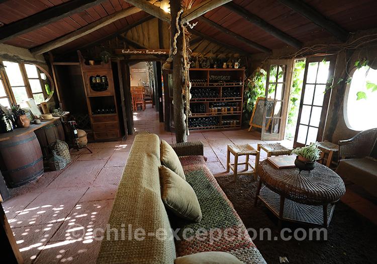 Salle commune de la maison d'hôte Caliboro, Chili