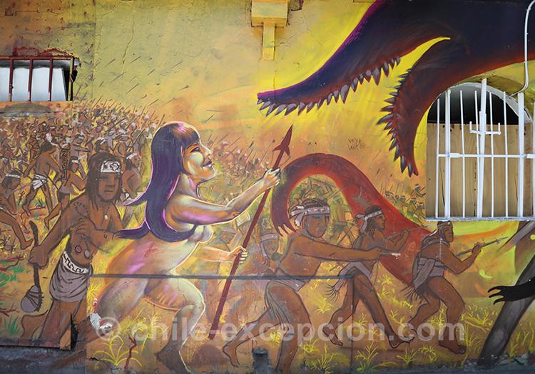 Peinture exceptionnelle dans le quartier Yungay à Santiago