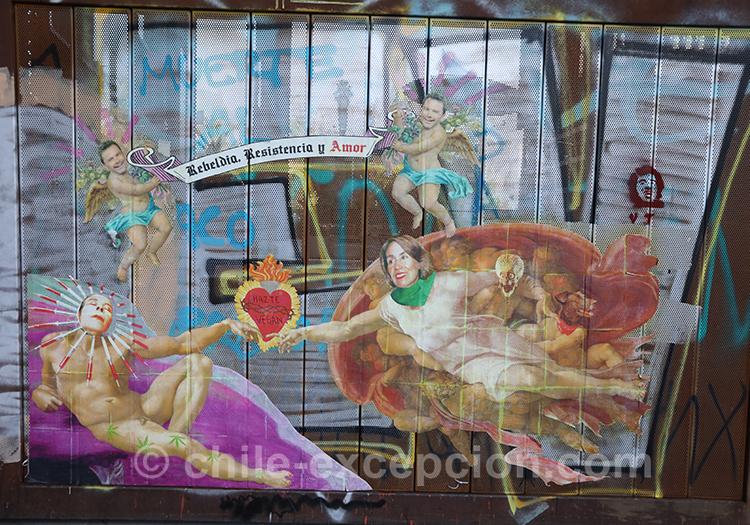 Lutter au Chili, manifestation et peintures de rue