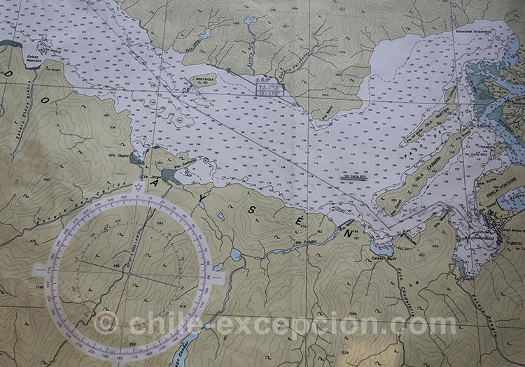 Carte du fjord Aysen, Chili