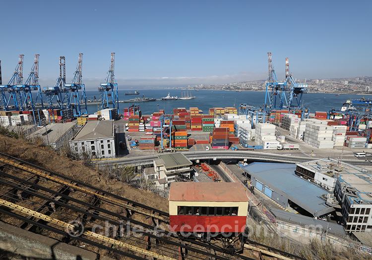 Vue du port industriel de Valparaiso depuis l'ascenseur Artillería, Chili